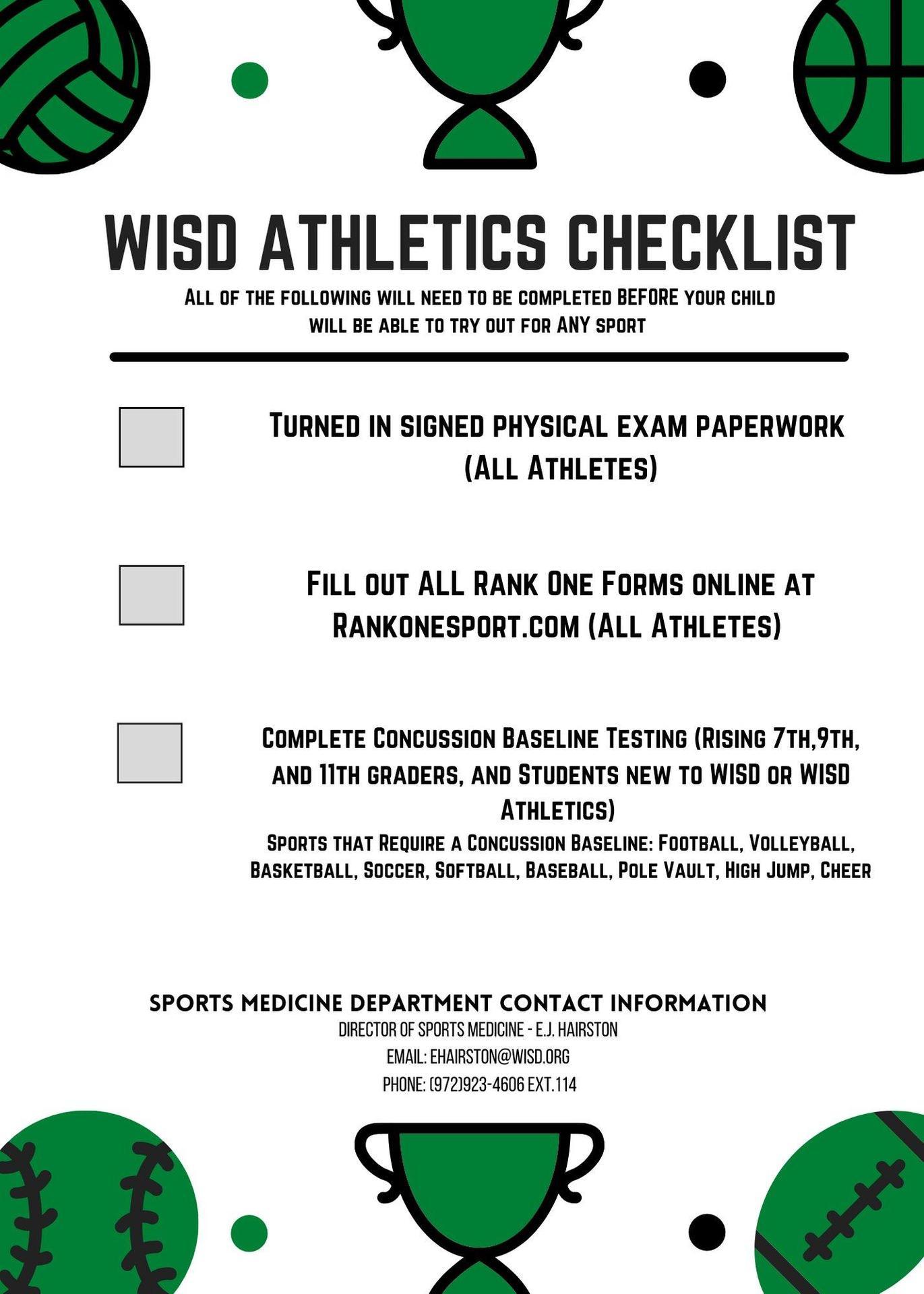graphic of wisd athletics checklist