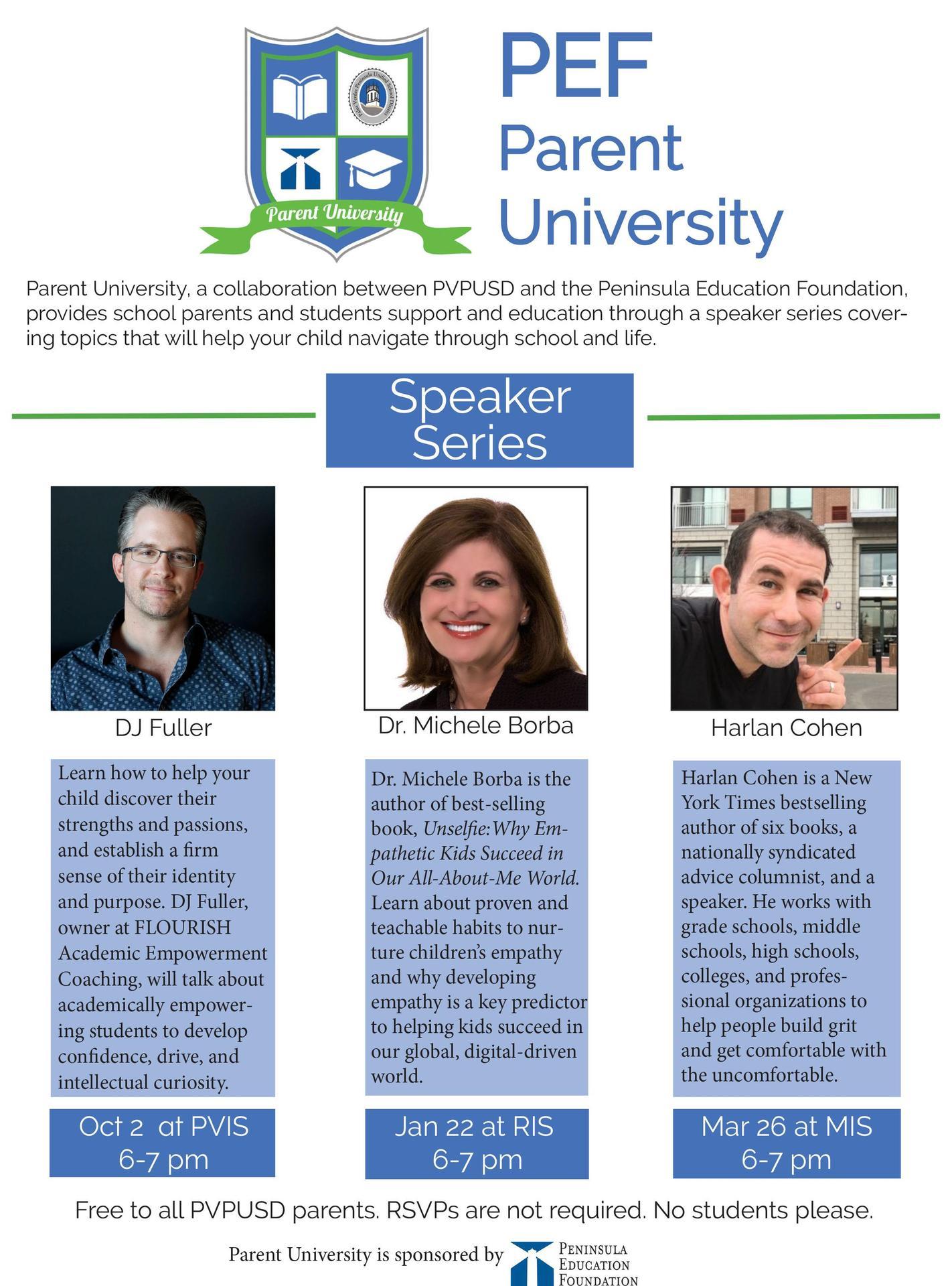 Parent University Speakers