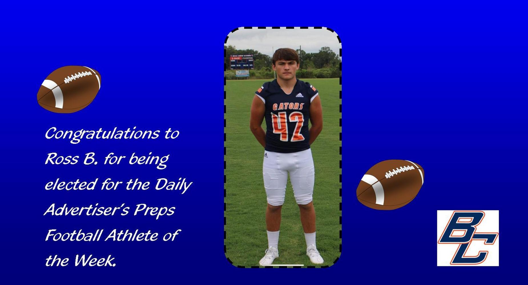Ross Bertrand elected Athlete Player of the Week for Daily Advertiser