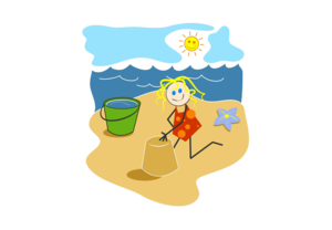 Cartoon image of child at the beach