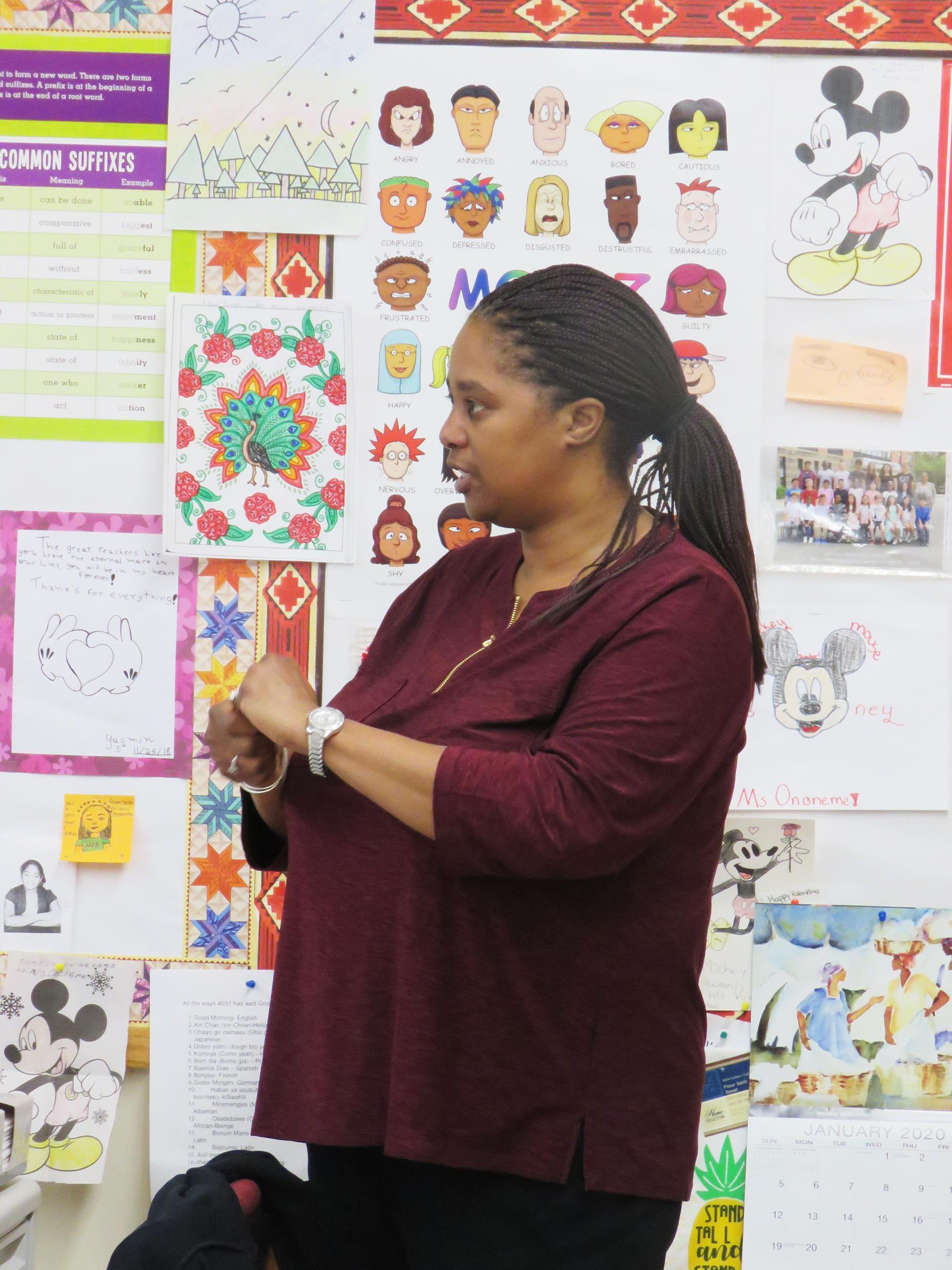 A close-up of teacher Jada Simmons-Ononeme