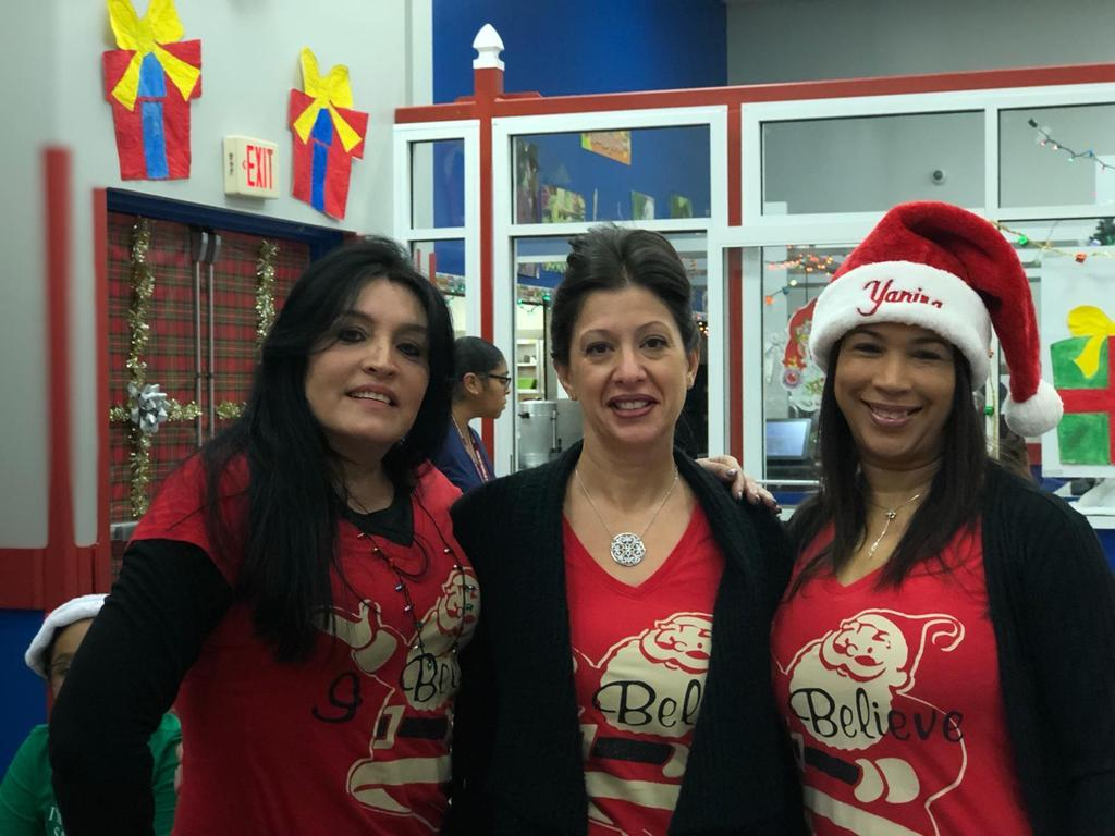 three female aides ready for breakfast with santa