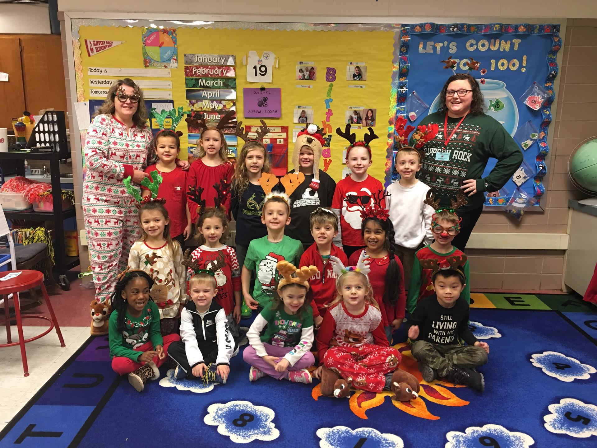 Kindergarten Celebrating Reindeer Day