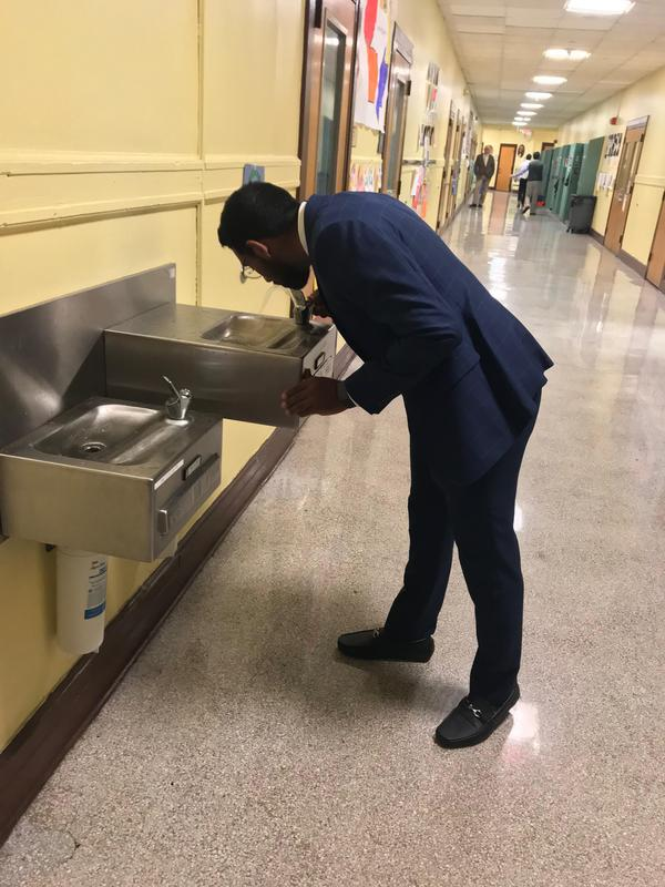 Water fountain pics mr walker and staff