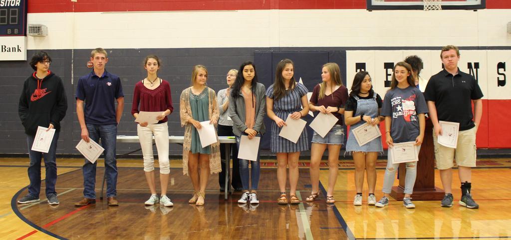9th Grade All A's L-R Gabrielle Bowell, Trey Degenhart, Andra Facio, Sunny Jones, Marisol Guel, Rachel Kimbell- Jack, Jordan McFarlan, Daniela Perez-Lopez, Kyla Simpson, Kyle Yeatter