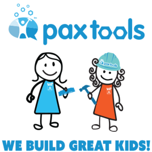 Pax Tools logo: two cartoon drawn kids with hard hats and tools in their hands.