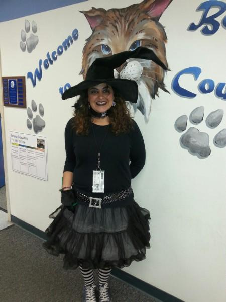 Mrs. Lanik dressed as a witch