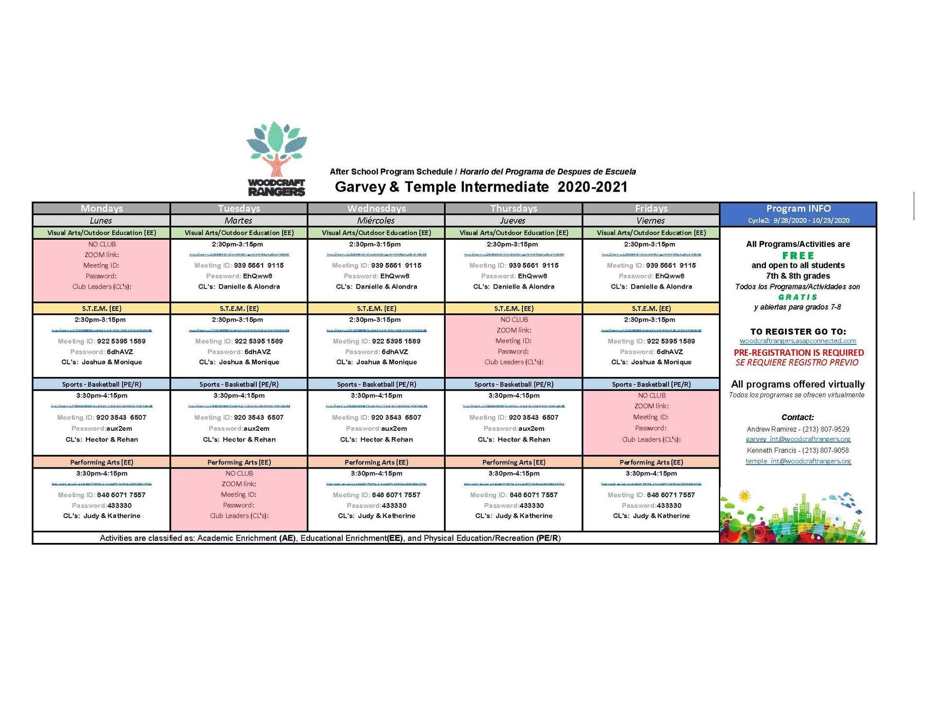 Woodcraft Schedule