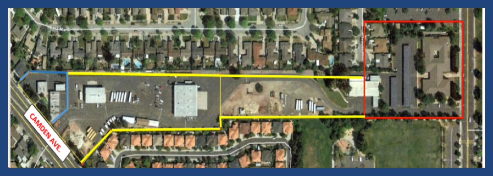 Aerial map showing current use of CUHSD land between Camden and Union Avenues
