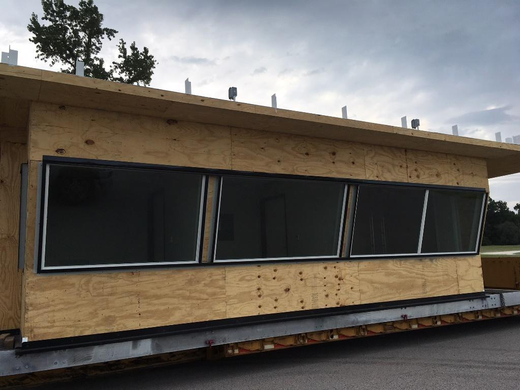 Press box being delivered