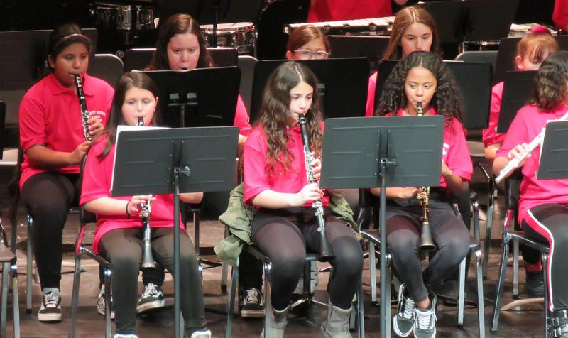 A close-up of one section of a middle school band, all playing instruments