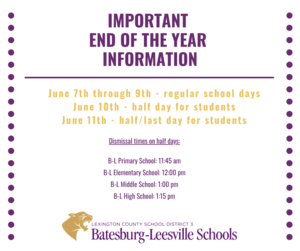 Important Information for the Last Week of School