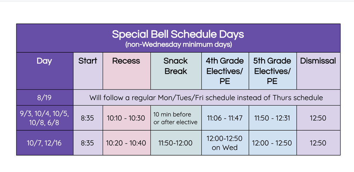 Special Day Bell Schedule
