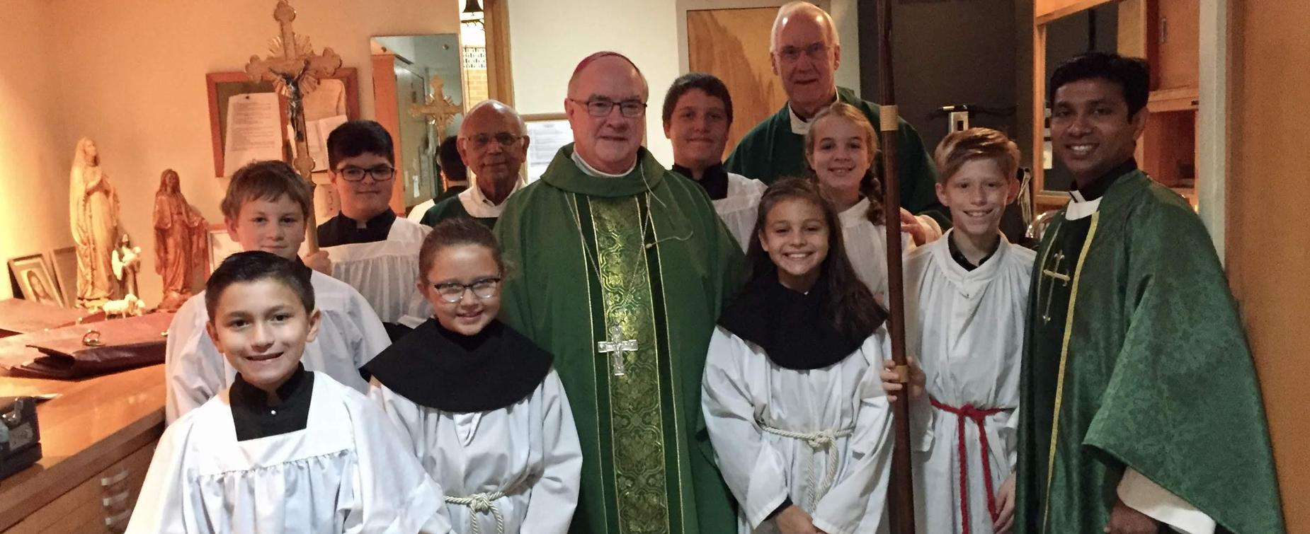 Students with Bishop Mulvey