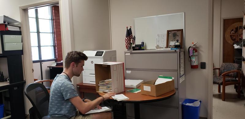 student intern working at clerk recorder office