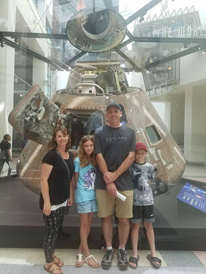 Mrs. Sunding and family at the California Science Museum