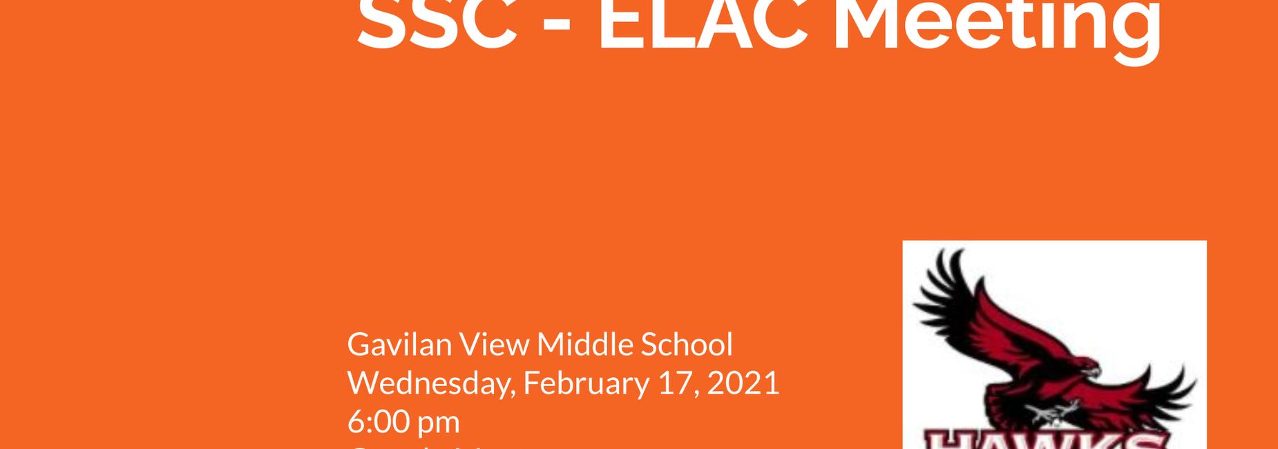 Gavilan View SSC - ELAC Meeting February 17 6pm