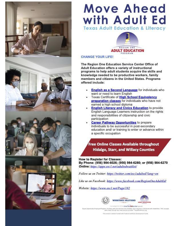 Adult Education Program Opportunities | English & Spanish | Click to learn more Featured Photo