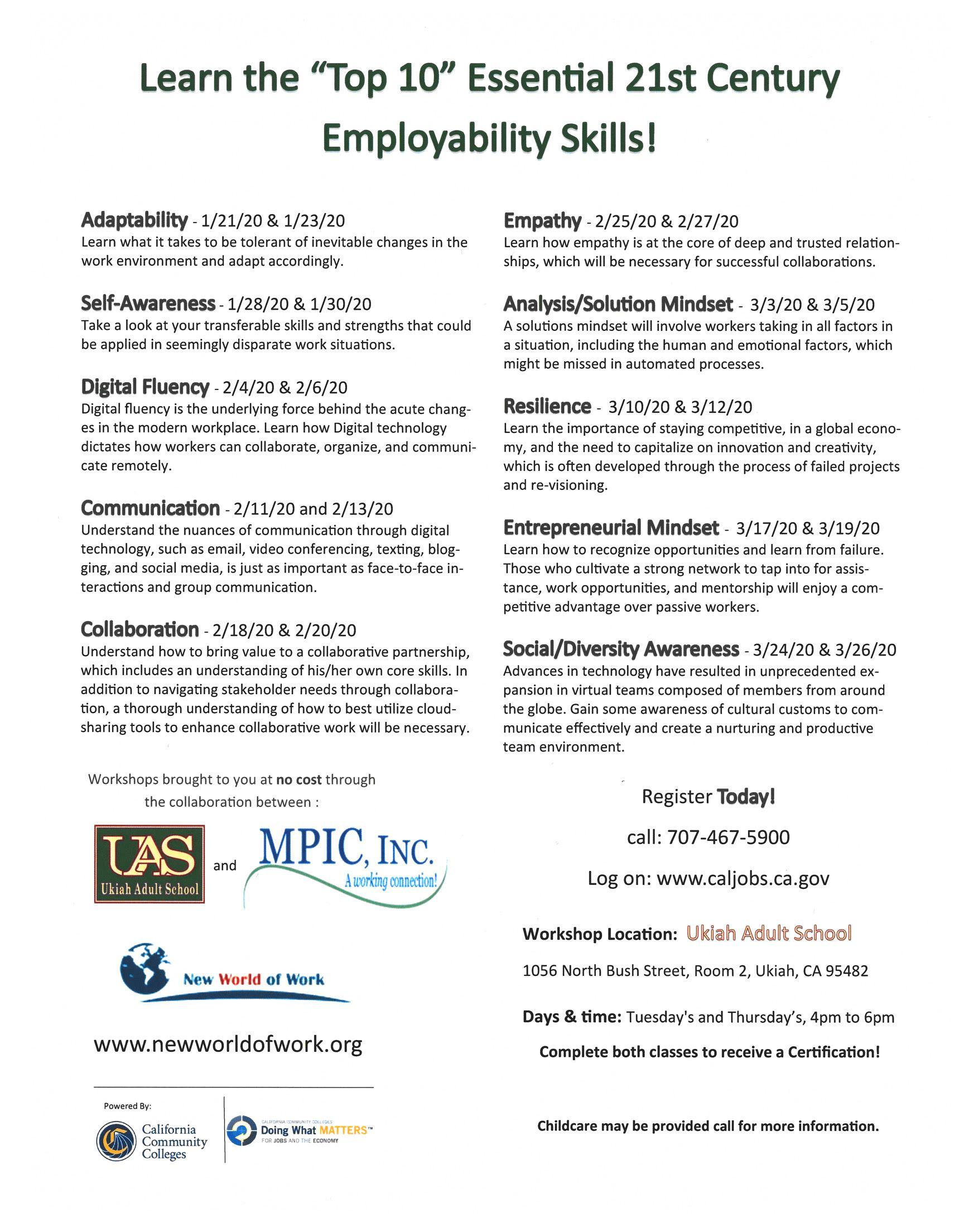 Jobs Skills Workshops poster