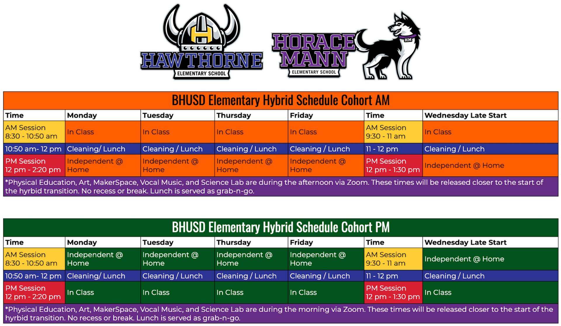 Elementary Hybrid Academic Schedule