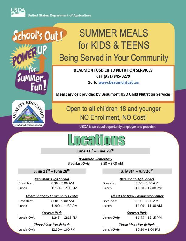Free Summer Meals Offered During the Summer By Beaumont USD