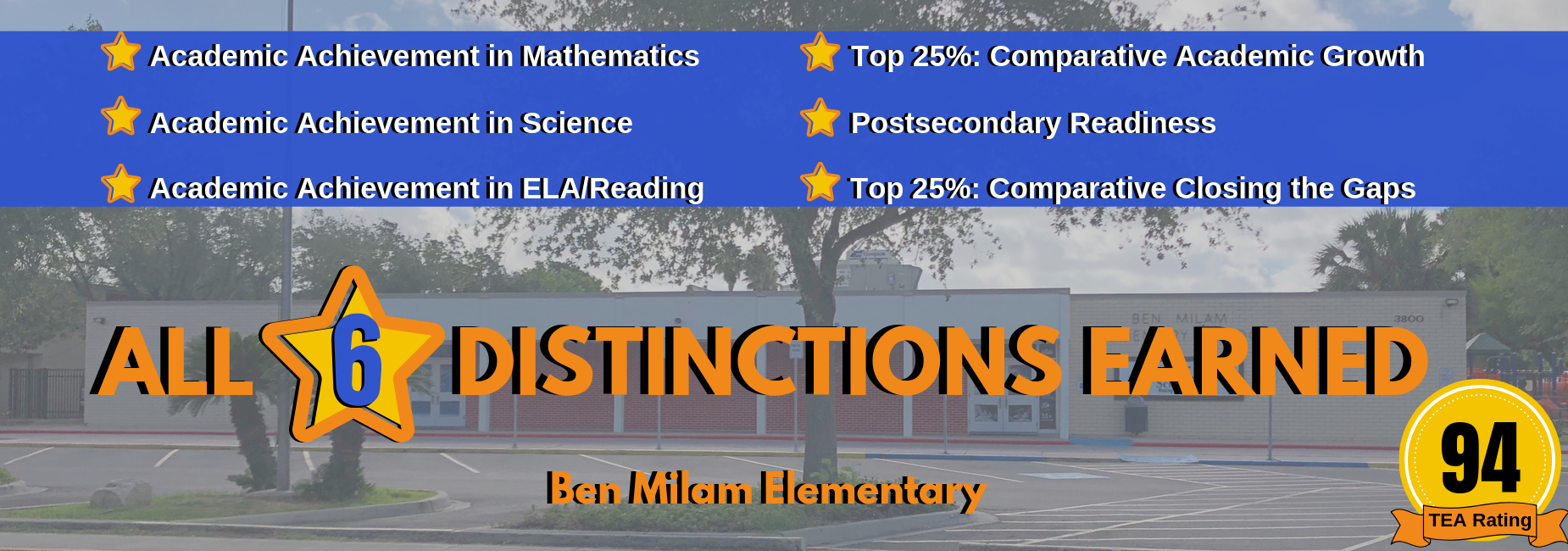 Milam Elementary - All Six Distinctions Earned