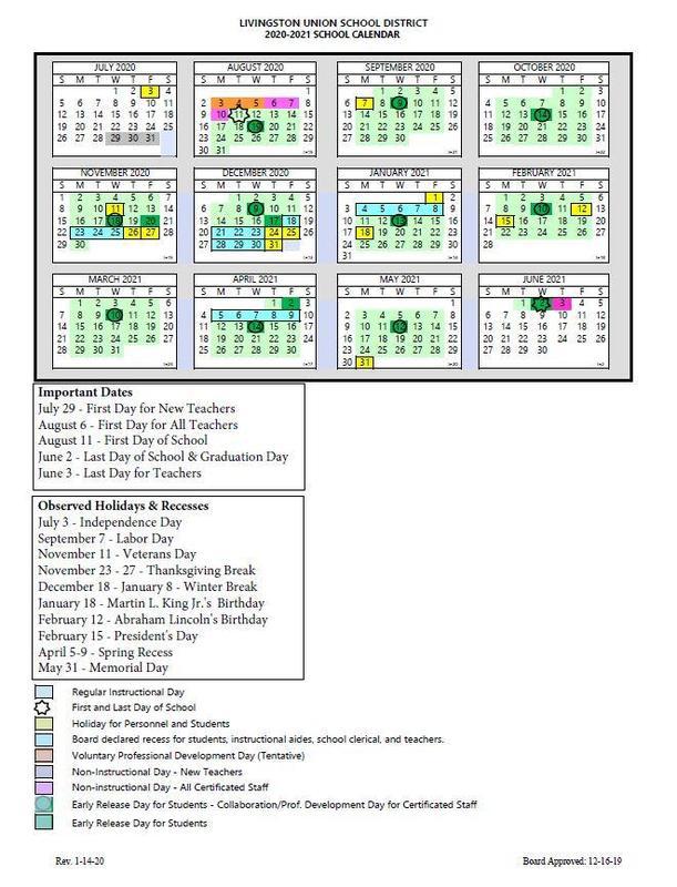 Livingston School Calendar 2021 Background