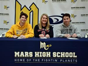 Mars Area High School seniors (from left) Carson Owens (volleyball), Emily Ivory (tennis) and Trent Wick (soccer) signed letters of intent to continue their sports careers at the college level.
