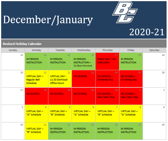 Revised Holiday Schedule Featured Photo