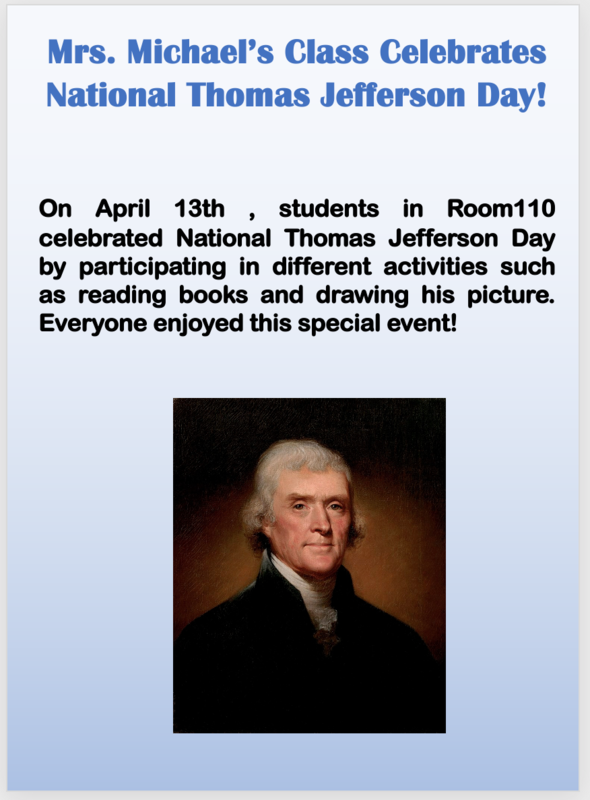 National Thomas Jefferson Day in Room 110 description