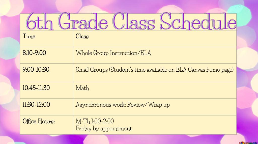 6th Grade Class Schedule