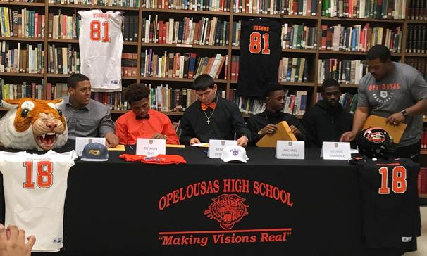 Opelousas High School Seniors sign letters of intent.