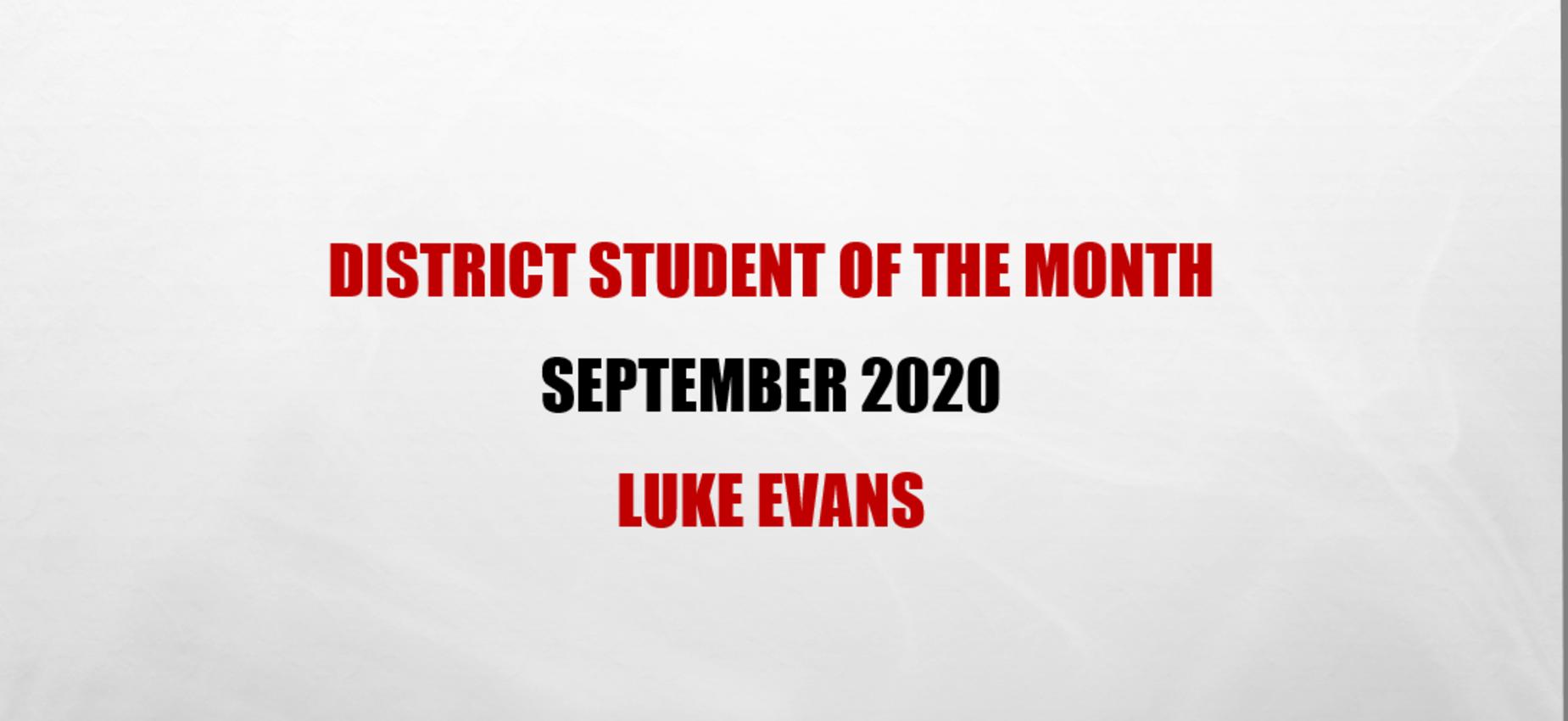 Luke Evans Student of the Month September 2020