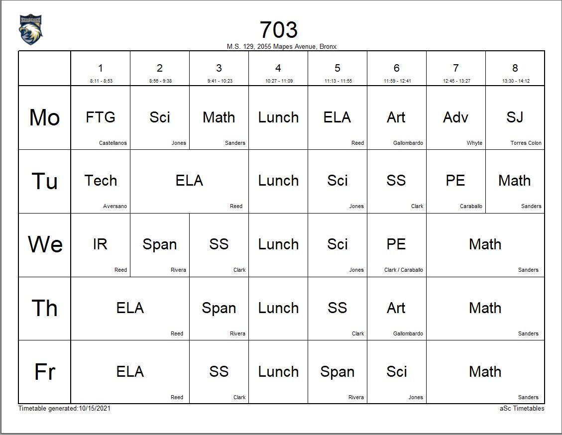 703 class schedule