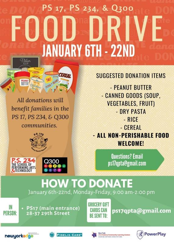 FOOD DRIVE JAN 6TH TO THE 22ND DROP OFF FOOD