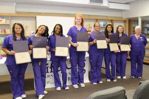 Twelve students from B-L High School recently graduated from the Lifelong Learning Center's Certified Nursing Assistant (CNA) Program.  Pictured from left to right are: Alyssa Whittington, Ashlynn Balkcum, Chardeja' Jeffcoat, Zoe Jackson, Megan Medlin, Mariela Rios, Taylor Shealy and Instructor Patricia Tiffner.  Not pictured: Taylor Drafts, Shanise Dunn, De'Ashia Finkley, Sandreka Pixley, and Akashia Wicker.