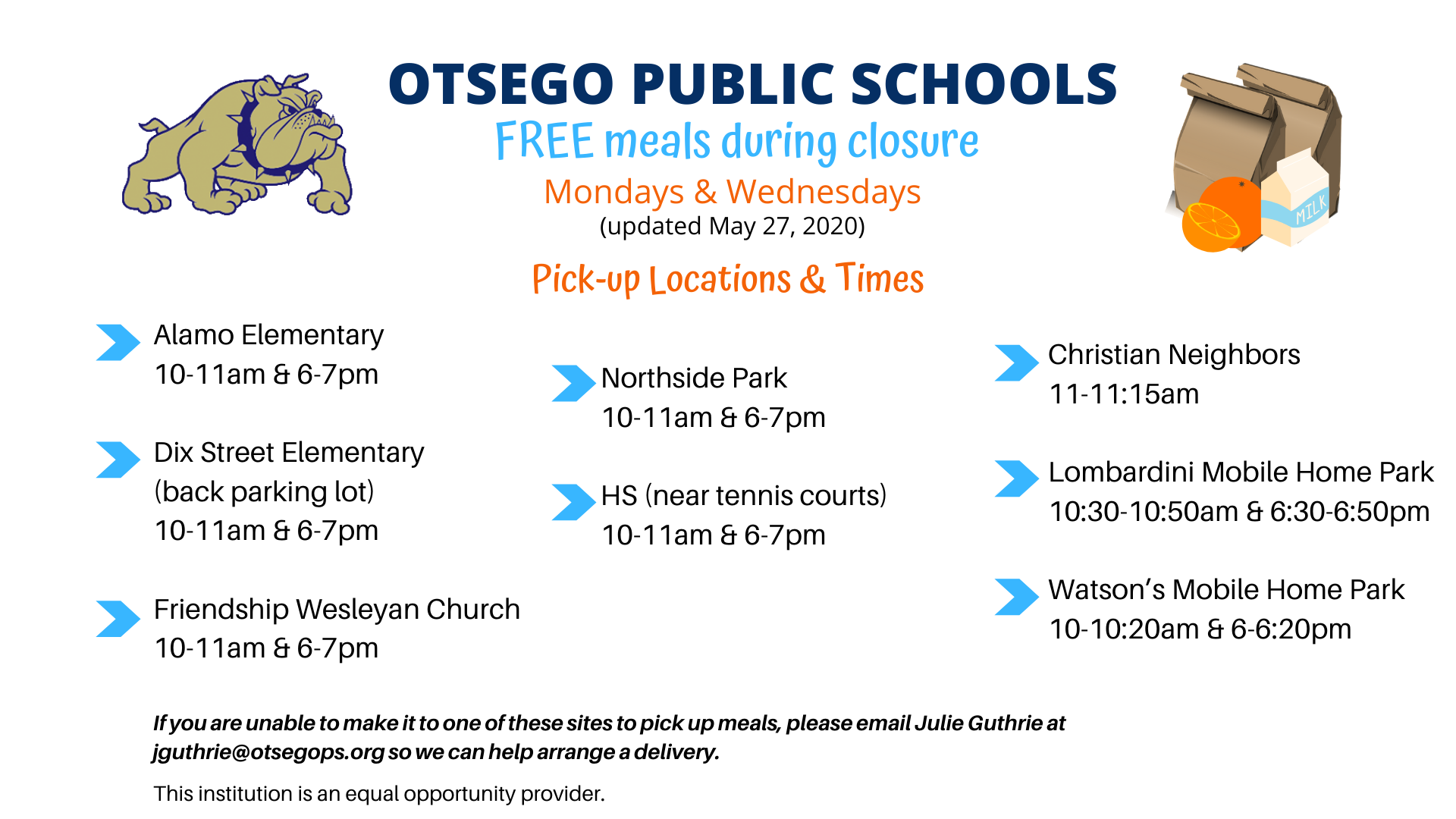 Latest food distribution schedule