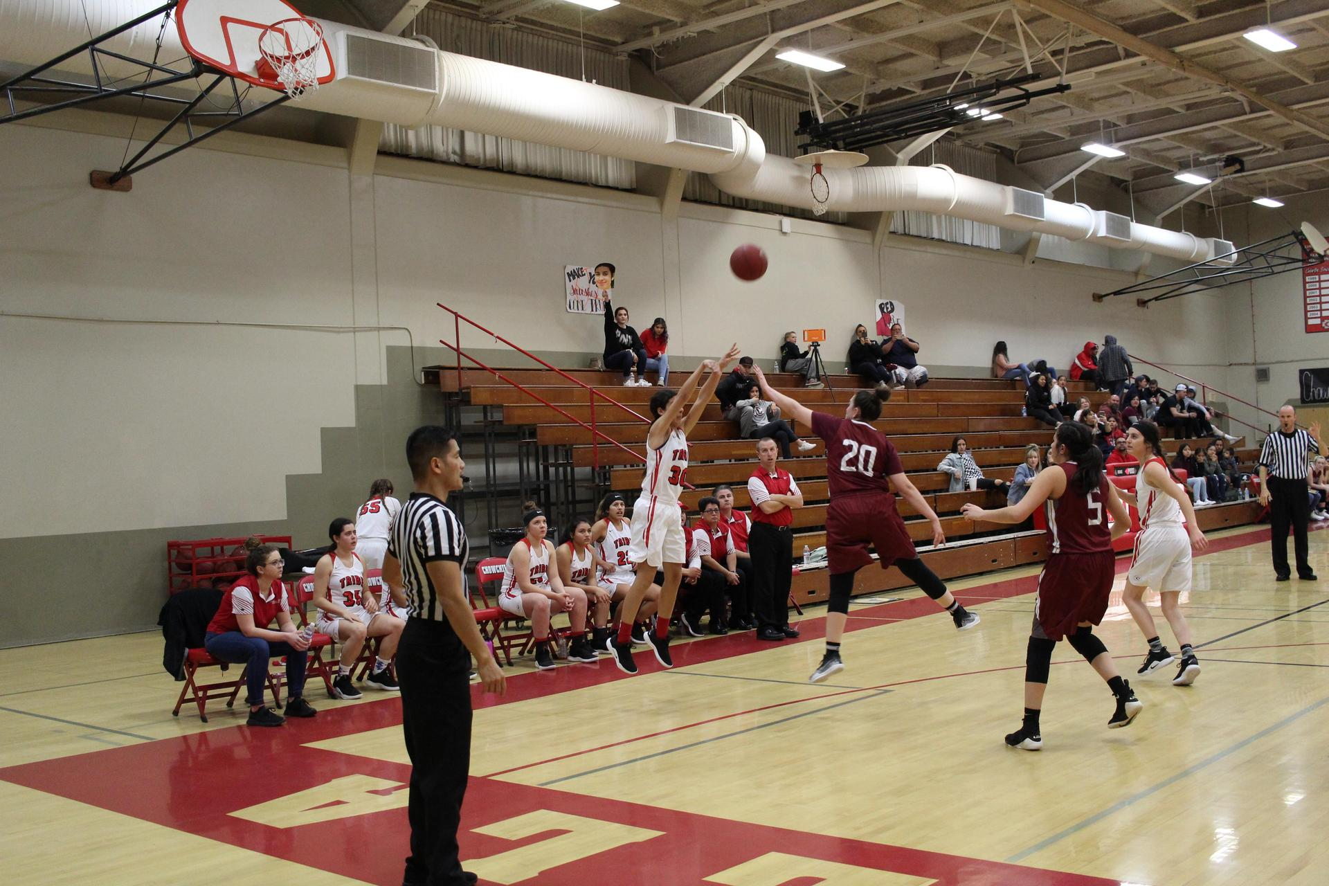 Varsity girls playing basketball against Granite Hills