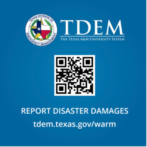 TDEM wants zavala county residents to report their damages  You can access the survey through the QR code, or going to the  tdem.texas.gov/warm  website where there is a link to the self reporting survey. Featured Photo