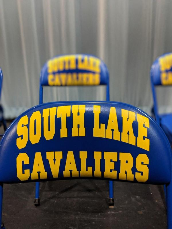 Chair with South Lake Cavaliers on back