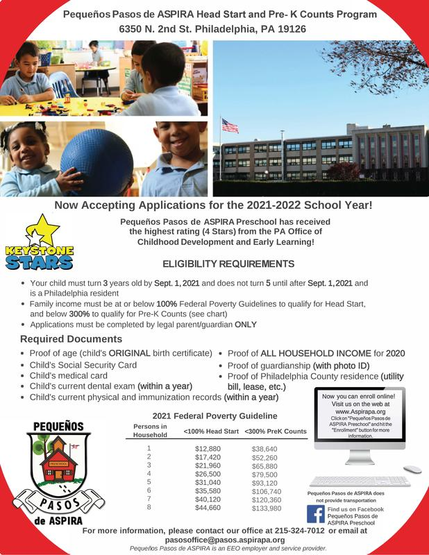 Enrollment is now open for Pequenos Pasos de ASPIRA Pre-K Counts School Featured Photo