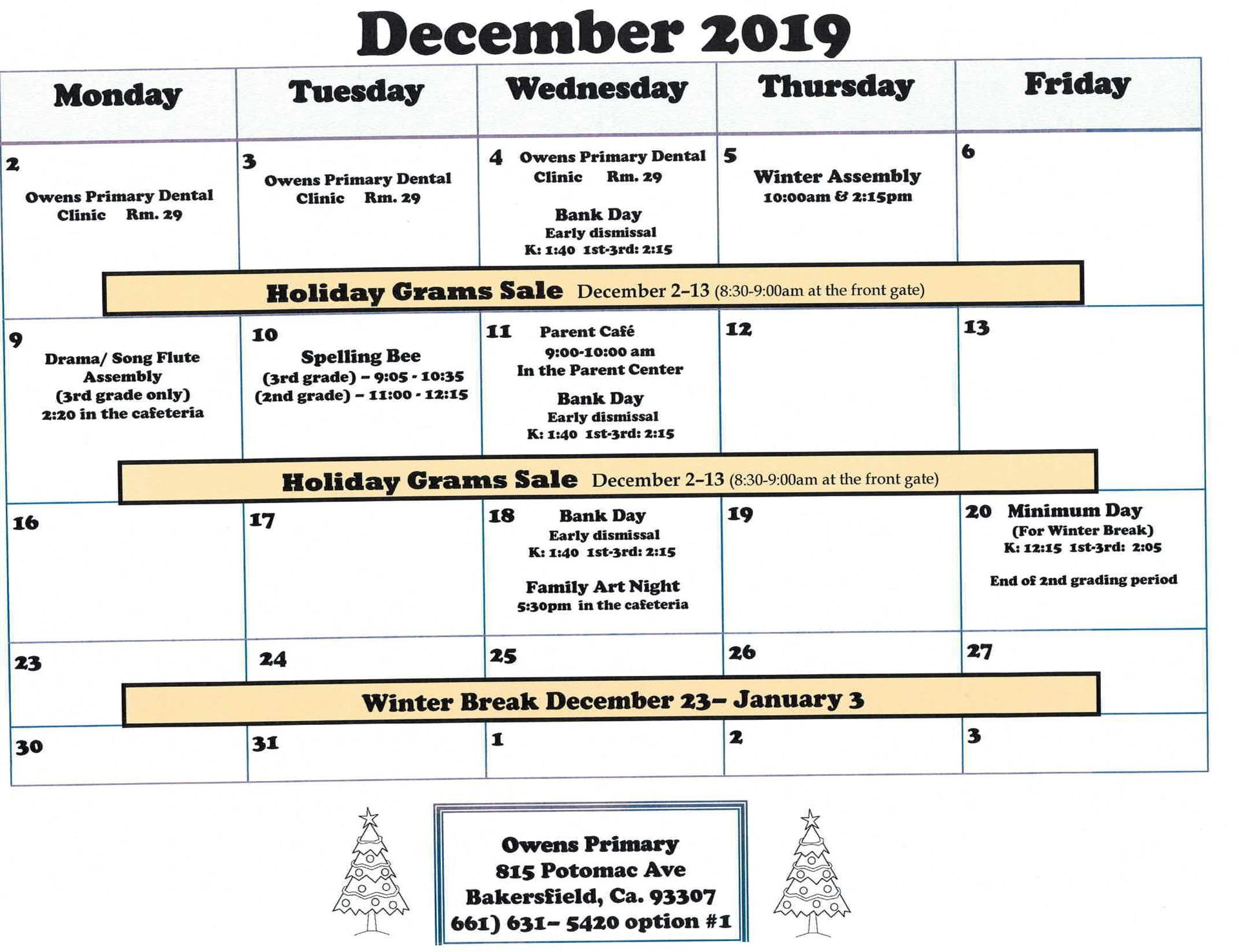 December Calendar English