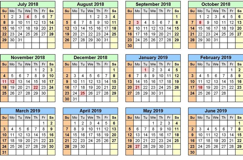 2018-19 Academic Year Calendar Featured Photo