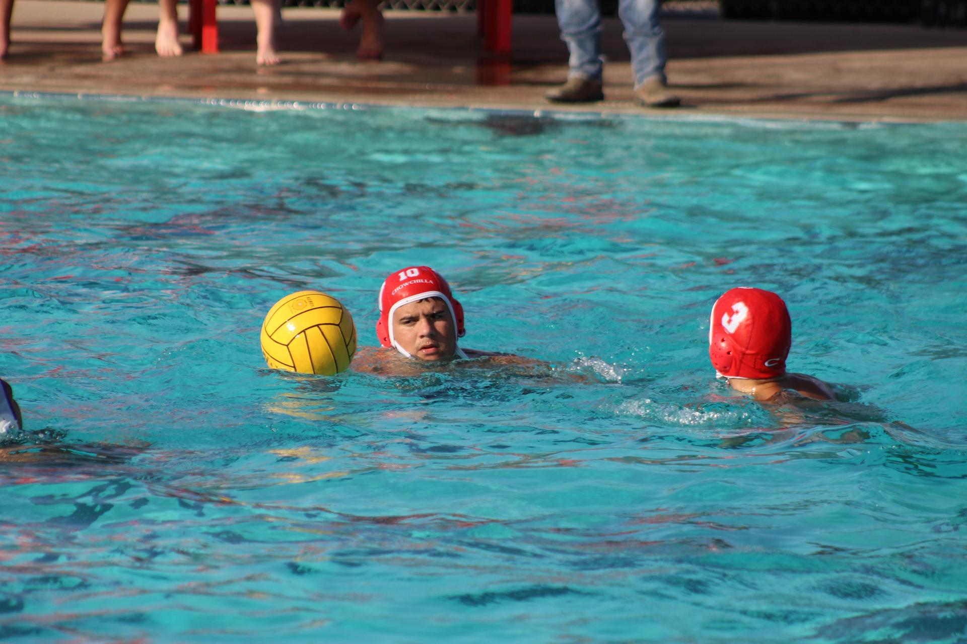 boys playing water polo against Livingston