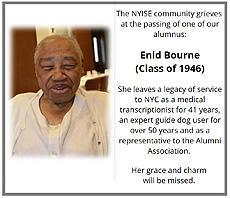 The NYISE community grieves at the passing of one of our alumnus: Enid Bourne (Class of 1946) She leaves a legacy of service as a representative to the Alumni Association.  Her grace and charm will be missed. #ThrowBackThursday #TBT #4201schools