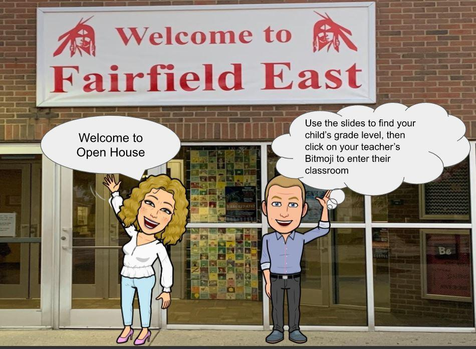 This is an image of a cartoon of Dr.Gillespie and Mr. McEldowney welcoming students to the virtual open house.
