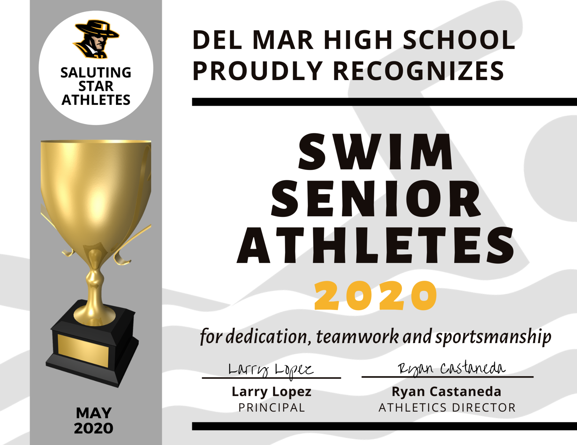 image of swim team recognition