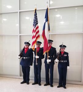 Photo of the Color Guard at the Houston Rockets game