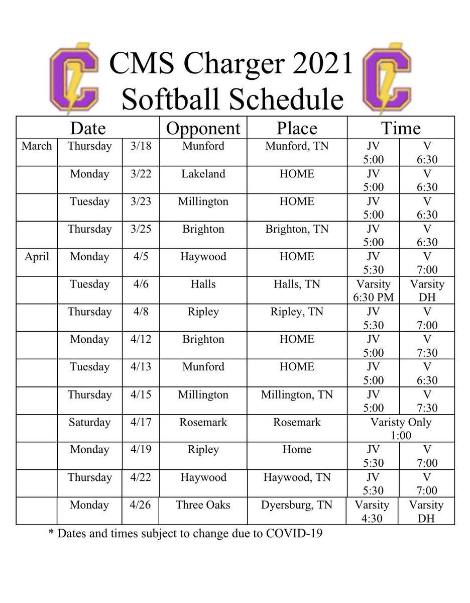 Softball 2021 Schedule