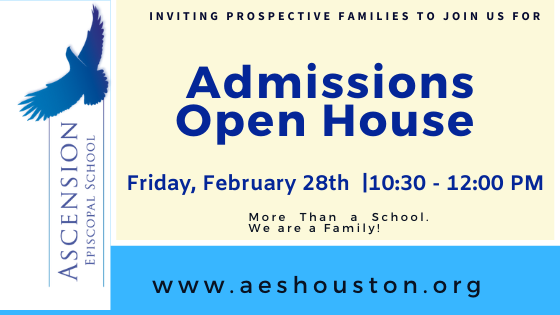 Admissions Open House - Friday, Feb. 28th at 10:30am Featured Photo